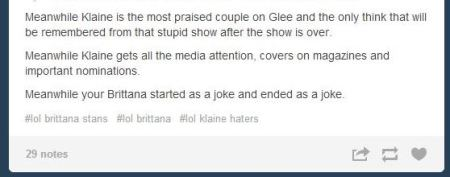 Klaine gets all the media attention Tumblr